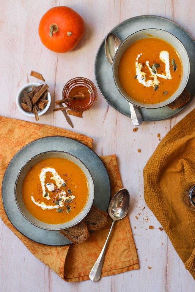 Soupe de courge miel et épices